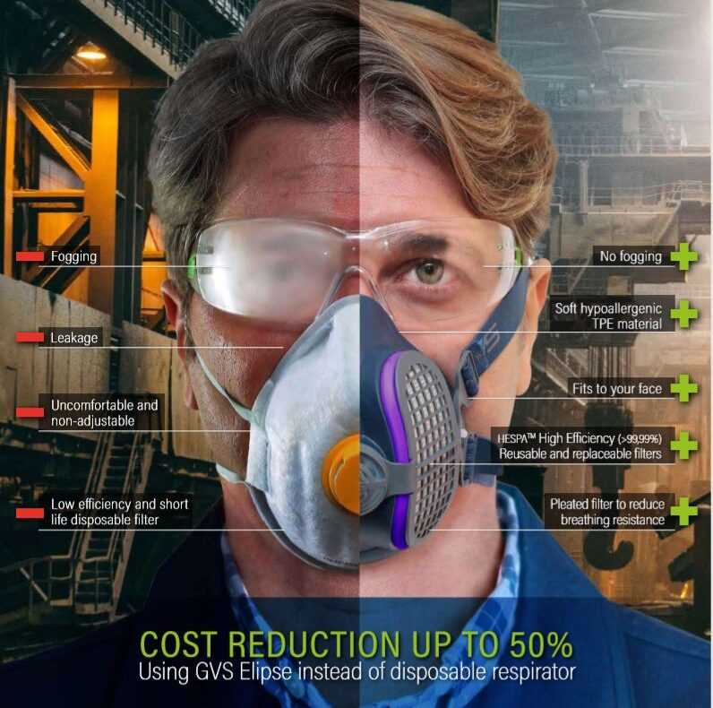 Features of GVS Respirators compared to disposable respirators: -anti-fog -hypoallergenic -fits to your face -High Efficiency Reusable and replaceable filters -Pleated filter to reduce breathing resistance